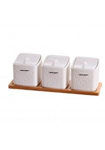 Alpha Living Creative Kitchen European Square Seasoning Pot Three-Piece Ceramic Spice Jar - White (KTN0096)