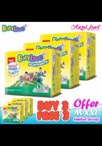 [Buy 3 Free 3] BabyLove PlayPants Regular L16 (6Packs)