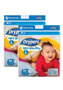 Drypers Wee Wee Dry Disposable Diapers L44 - (2 packs)