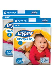 2 Packs Wee Wee Drypers Diaper L62