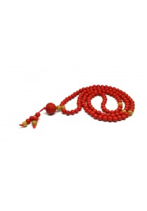 Natural Red Cinnabar Auspicious Lotus 108 Beads Mix with Gold Foil Bracelet