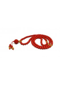 Natural Red Cinnabar Auspicious Wealth 108 Beads Mix with Gold Foil Bracelet