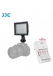 JJC LED-96 Photo Video Led Light for Camera with Fujitsu Basic Charger Battery Set