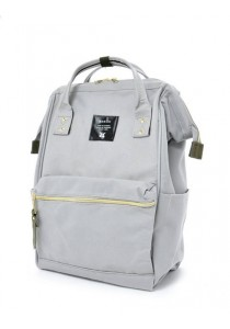 100% Authentic Anello (Mini) Backpack - Polyester Canvas Light Grey