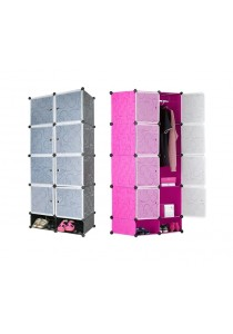 Alpha Living 8 Cubes DIY Wardrobe With Shoe Rack and One Hanger - Black/Pink/Green (LRA0030)