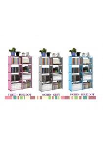 Alpha Living Portable DIY Storage Rack Bookshelf with Multi-functional Wardrobe - Grey/Pink/Blue (LRA0042)