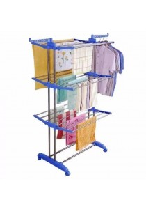 Alpha Living Quality Blue 3 Tier Large Clothes Foldable Dryer Hanging Rack - Blue (LRA0051)