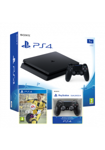 PS4 Slim 1TB Black Console + FIFA 17 + Dual Shock 4