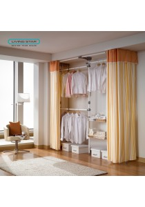 Living Star Flexible Wardrobe 4 Tiers 2 Basket Curtain: LS-3378