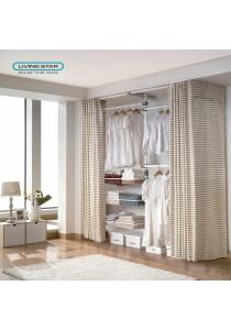 Living Star Flexible Wardrobe 4 Tiers 3 Basket Curtain: LS-3361