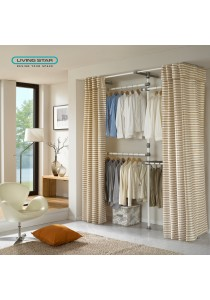 Living Star Flexible Wardrobe 3 Tiers Trousers Curtain: LS-3477