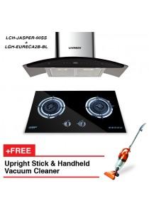 Livinox Cooker Hood LCH-JASPER-90SS + Built-In Hob LGH-EURECA2B-BL + FREE HETCH Upright Stick Vac
