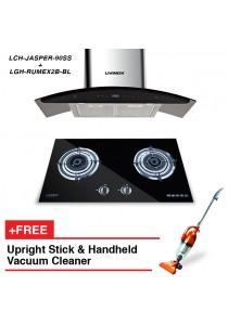 Livinox Cooker Hood LCH-JASPER-90SS + Built-In Hob LGH-RUMEX2B-BL + FREE HETCH Upright Stick Vac