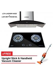 Livinox Cooker Hood LCH-JASPER-90SS + Built-In Hob LGH-BETTINO2B-BL + FREE HETCH Upright Stick Vac