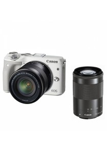 Canon EOS M3 Mirrorless Digital Camera with 18-55mm and 55-200mm Lenses (White)