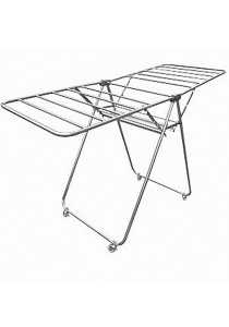 MHT Foldable Butterfly Stainless Steel Laundry Hanger With Wheel (Silver)