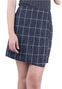 Folded Checked Cotton Skirt