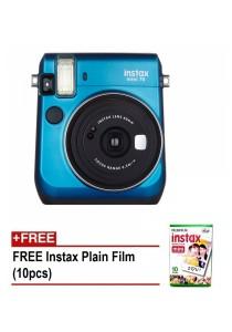 Fujifilm Instax Mini 70 Instant Film Camera (Island Blue) + 10pcs Plain Film