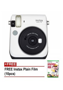 Fujifilm Instax Mini 70 Instant Film Camera (Moon White) + 10pcs Plain Film