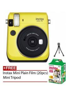 Fujifilm Instax Mini 70 Instant Film Camera (Yellow) + Instax Mini Plain Film (20pcs) + Mini Tripod