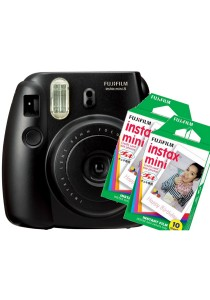Fujifilm Instax Mini 8 (Black) + Plain Film Twin Pack (20pcs)