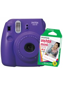 Fujifilm Instax Camera Mini 8 (Grape) + Instax Mini Plain Film (10pcs)