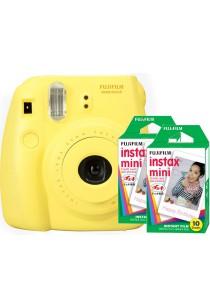 Fujifilm Instax Mini 8 (Yellow) + Plain Film Twin Pack (20pcs)