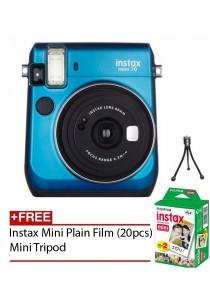 Fujifilm Instax Mini 70 Instant Film Camera (Blue) + Instax Mini Plain Film (20pcs) + Mini Tripod