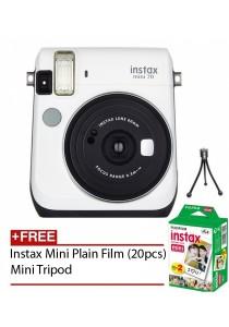 Fujifilm Instax Mini 70 Instant Film Camera (White) + Instax Mini Plain Film (20pcs) + Mini Tripod