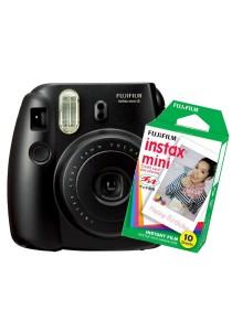 Fujifilm Instax Camera Mini 8 (Black) + Instax Mini Plain Film (10pcs)