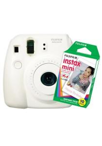Fujifilm Instax Camera Mini 8 (White) + Instax Mini Plain Film (10pcs)