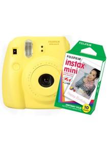Fujifilm Instax Camera Mini 8 (Yellow) + Instax Mini Plain Film (10pcs)
