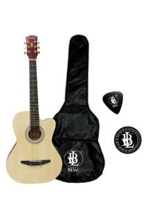 Mukita by BLW Acoustic Folk Cutaway Guitar 38 Inch Natural
