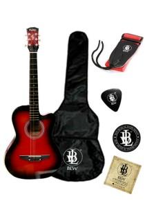 Mukita by BLW Acoustic Folk Cutaway Guitar 38 Inch Beginner Package 4 (Red)