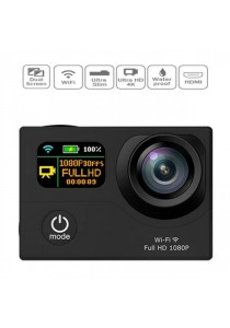 4K Ultra HD 2-Inch Dual Screen 170 Degree Wide Angle Sport Action Camera - Black