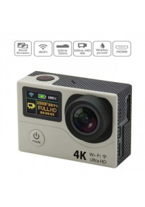 4K Ultra HD 2-Inch Dual Screen 170 Degree Wide Angle Sport Action Camera - Silver