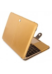 Fashion PU Leather Ultrathin Sleeve Case Cover For Macbook 12 Inch with Retina Display - Gold