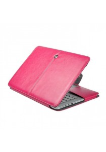 Fashion PU Leather Ultrathin Sleeve Case Cover For Macbook 15.4 Inch with Retina Display - Magenta