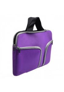 Handy Zipper Sleeve Bag with Pockets for All 13 Inch Notebook - Purple