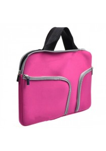 Handy Zipper Sleeve Bag with Pockets for All 13 Inch Notebook - Pink