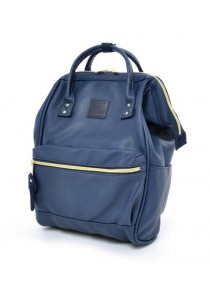 Anello Original Unisex PU Faux Leather Regular Backpack Rucksack Bag (Navy)