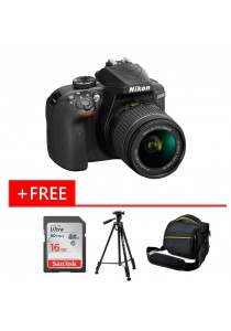 Nikon D3400 (AF-P DX 18-55MM VR) + 16GB Ultra Class10 + Bag + Tripod (Original Malaysia Warranty)