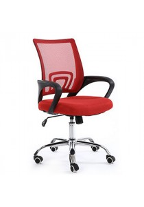 Mid-Back Office Chair with Lumbar Support - Red