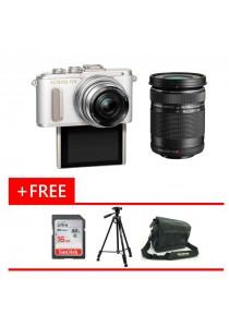 Olympus Pen EPL8 White 14-42MM EZ + 40-150mm Lens + 16GB Card + Bag + Tripod (Original Malaysia Warranty)