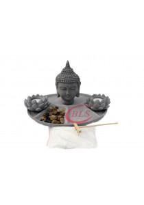 Polyresin Buddha Statue Decor HY081 - Cement Grey Color