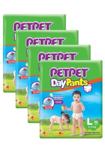 PETPET Day Pants Diaper Jumbo Packs L46 (4 packs)
