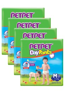 PETPET Day Pants Diaper Jumbo Packs M54 (4 packs)