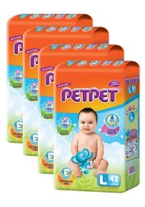 PETPET Tape Diaper Jumbo Packs L42 (4packs)