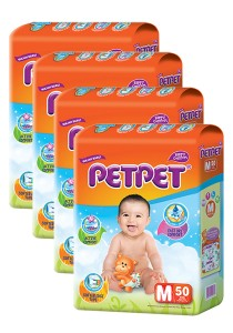 PETPET Tape Diaper Jumbo Packs M50 (4packs)