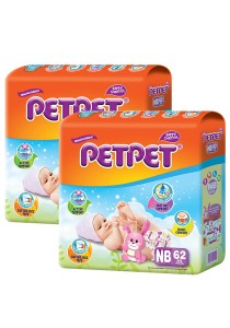 PETPET Tape Diaper Jumbo Packs NB62 (2packs)